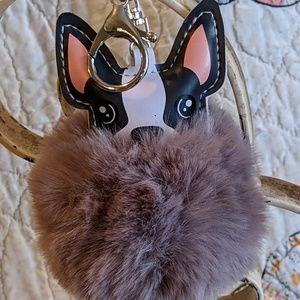 Pom Pom Faux Fur French Bulldog Keychain